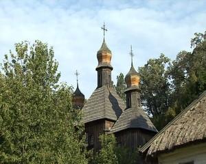 Old-world church,  distancing camera