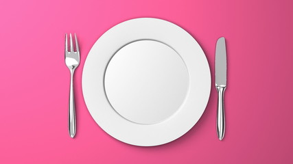 Top View Of Cutlery And Dish On Pink Background