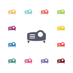 projector flat icons set