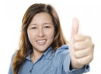 Beautiful woman giving thumb up