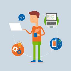Character - programmer, web development concept. Vector illustra