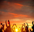 Silhouette People Party Sunset Celebrate Dancing Concept