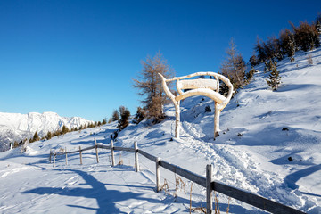 Sunny winter high in the alpine mountains in Innsbruck