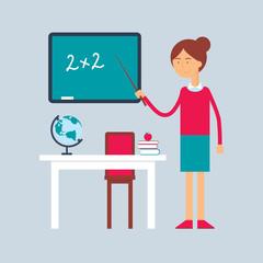 Character - teacher, education concept. Vector illustration, fla