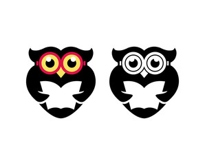 Owl geek color and black logo