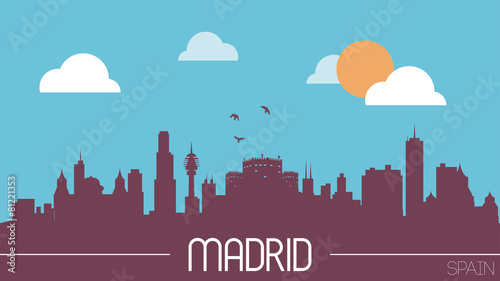 Madrid Spain skyline silhouette flat design vector