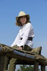 Mature woman in a safari in Kenya