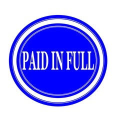 Paid in full white stamp text on blue