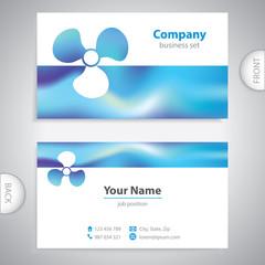 business card - Boat propeller - maritime symbols