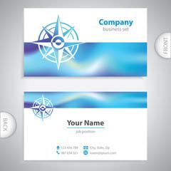 business card - Wind rose symbol - marine Equipment - company pr