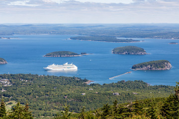 Cruise Ship in Bay from Cadillac Mountain