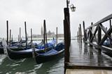 Gondolas close to the bridge in San Marco area in Venice