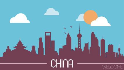 China skyline silhouette flat design vector