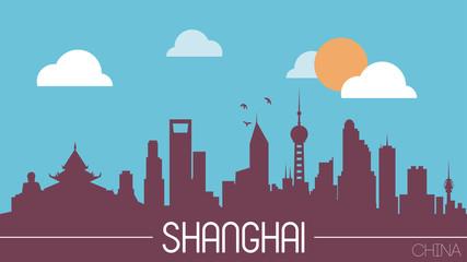 Shanghai China skyline silhouette flat design vector