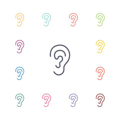 ear flat icons set