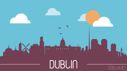 Dublin Ireland skyline silhouette flat design vector