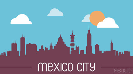 Mexico City skyline silhouette flat design vector