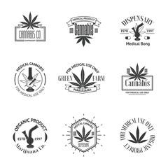 Set of medical marijuana logos. Cannabis badges, labels and