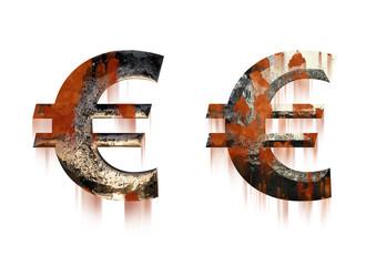 Metallische Eurozeichen mit Rost