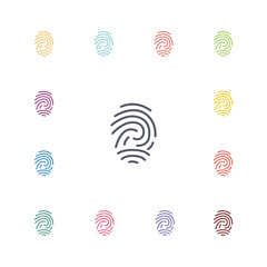fingerprint flat icons set