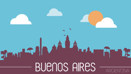 Buenos Aires Argentina skyline silhouette flat design vector