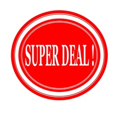 Super deal white stamp text on red