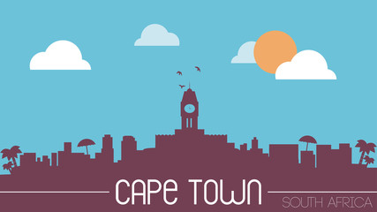 South africa cape town skyline silhouette flat design vector