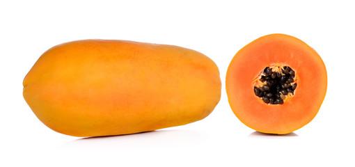 yellow papaya isolated on white background
