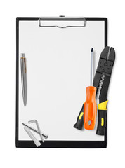 Clipboard with tools and pen