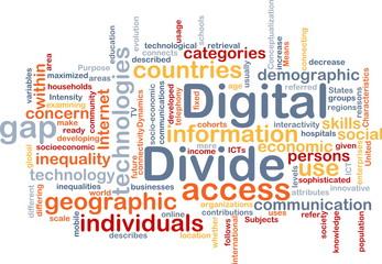 Digital divide wordcloud concept illustration
