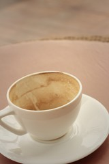 White coffee cup with saucer at the cofee shop