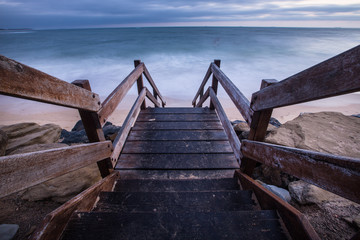 Wooden staircase down to the beach