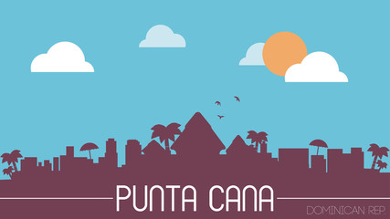 Punta Cana Dominican Rep. skyline silhouette flat design