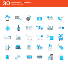 flat icons set- shopping & commerce