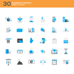 Set of modern flat design Business and Finance icons