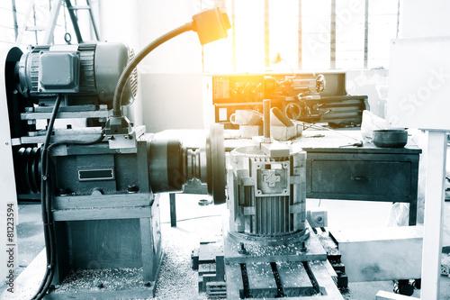 Leinwanddruck Bild Industry lathe machine detail