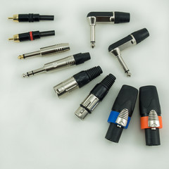 Group of audio plug on a white background