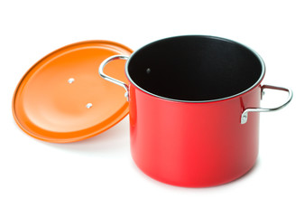 red saucepan with lid