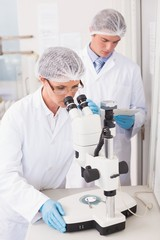 Scientists working attentively with microscope