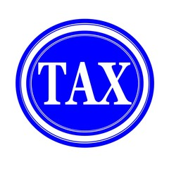 TAX white stamp on blue