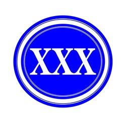XXX white stamp text on blue