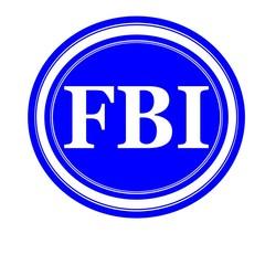 FBI white stamp text on blue background