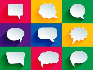 speech bubbles, colorful