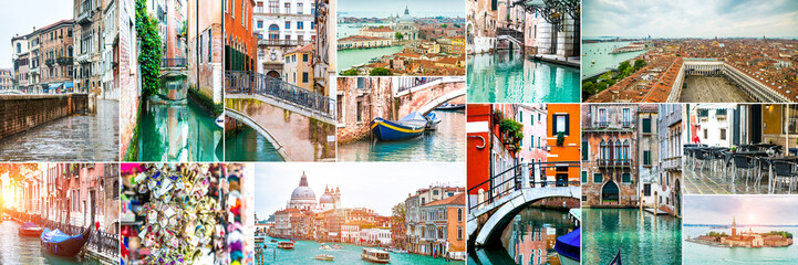 Collage of photos from Venice