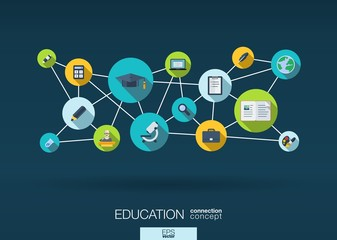 Education network abstract background with integrate flat icons