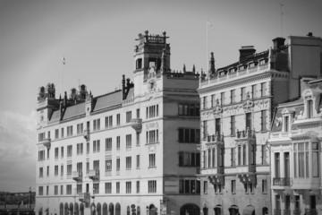 Norrmalm, Stockholm. Black and white.