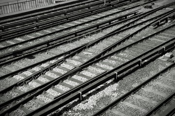 Railroad tracks. Black and white.