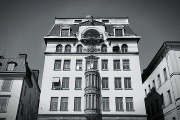 Gamla Stan, Stockholm. Black and white.