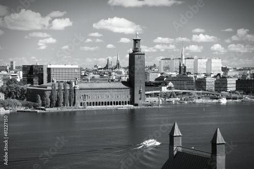 Poster Stockholm skyline. Black and white.