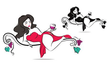 Beautiful woman is enjoying a glass of wine